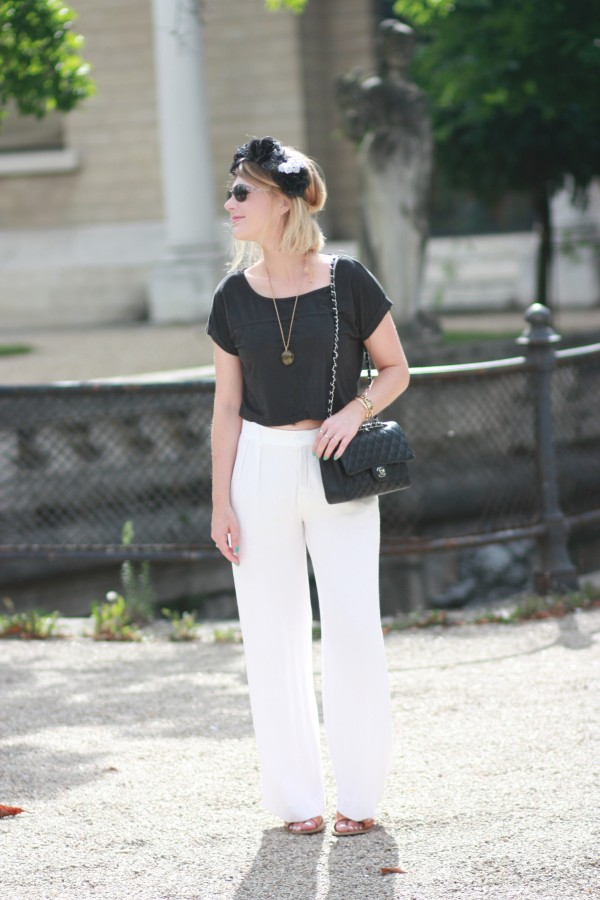Pantalon blanc large zara