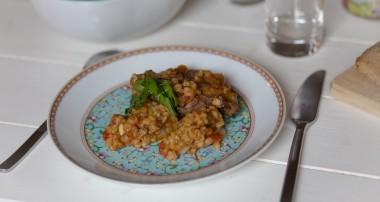 Risotto d'agneau et orge perlé aux épices grecques (IG bas)